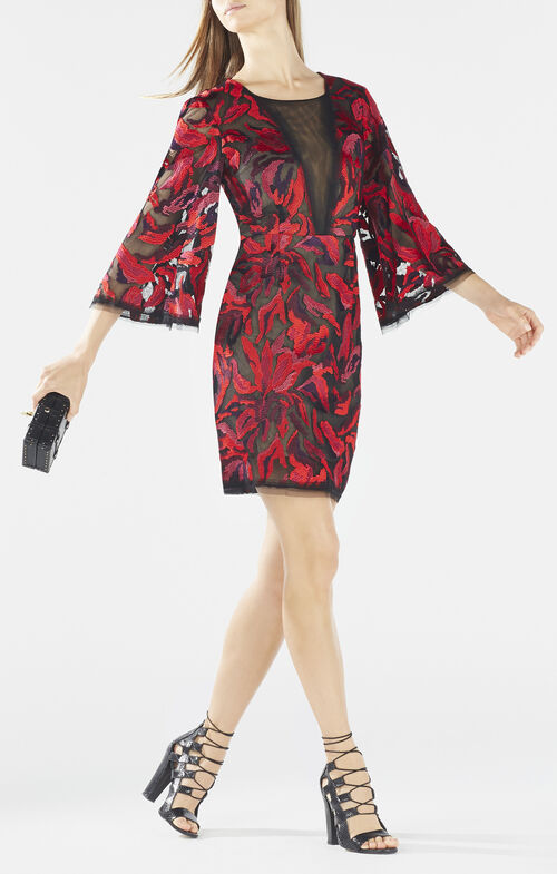 Yasmyn Embroidered Floral Print Dress