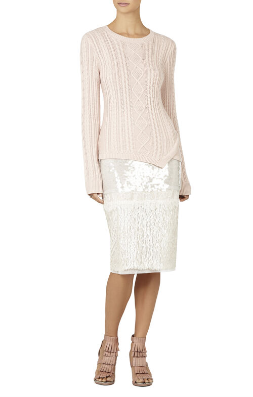 Jocelyn Cable-Knit Asymmetrical-Hem Pullover