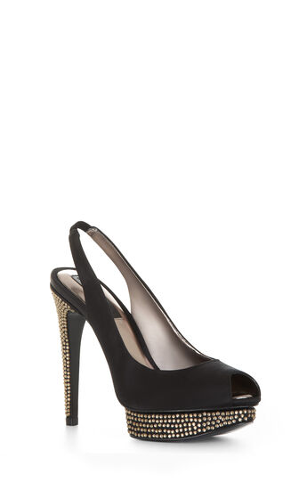 Falcon Embellished Peep-Toe Sling-Back Pump