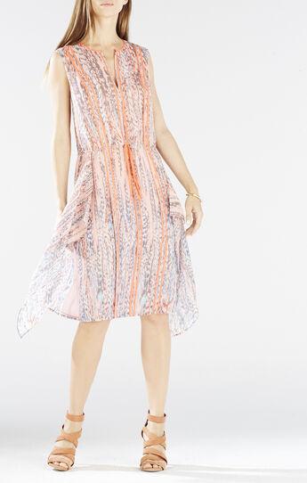 Liya Print-Blocked Draped Dress