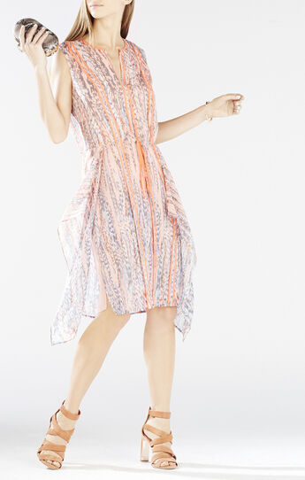 Liya Print-Blocked Draped Dress