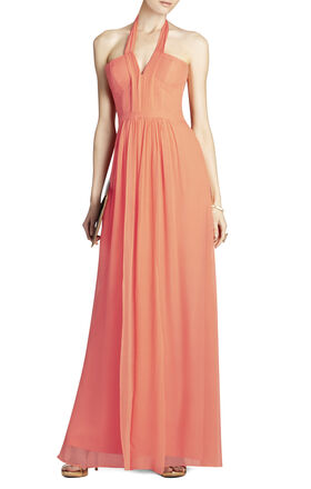 Starr Deep V-Neck Silk Halter Dress