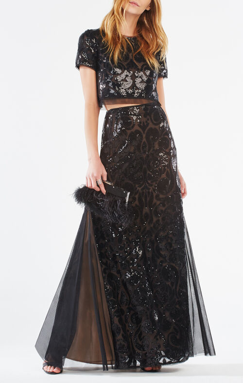 Maris Sequin-Embroidered Two-Piece Gown