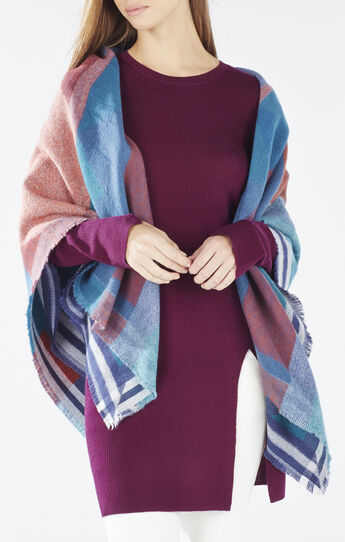 Geometric Color-Blocked Wrap Scarf
