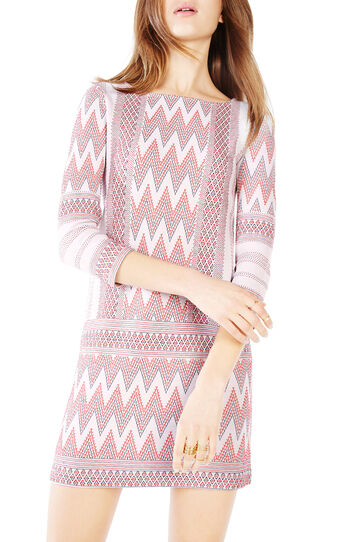 Beth Zigzag Knit Jacquard Dress