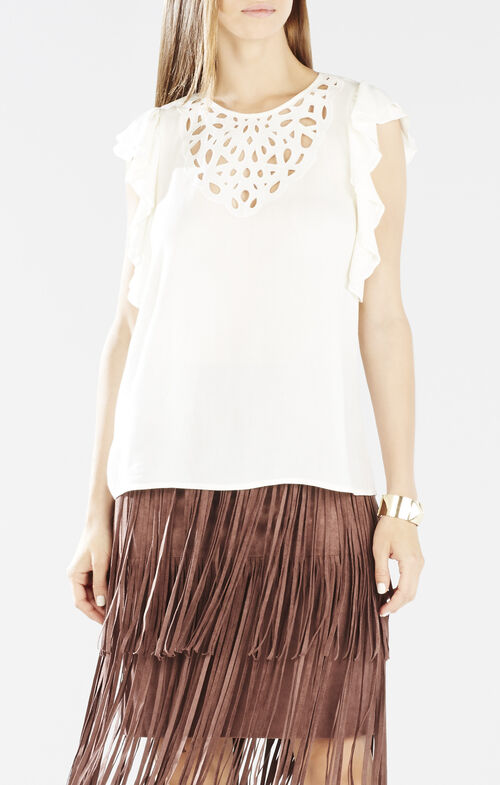 Haidee Flutter-Sleeve Cutout Embroidered Top