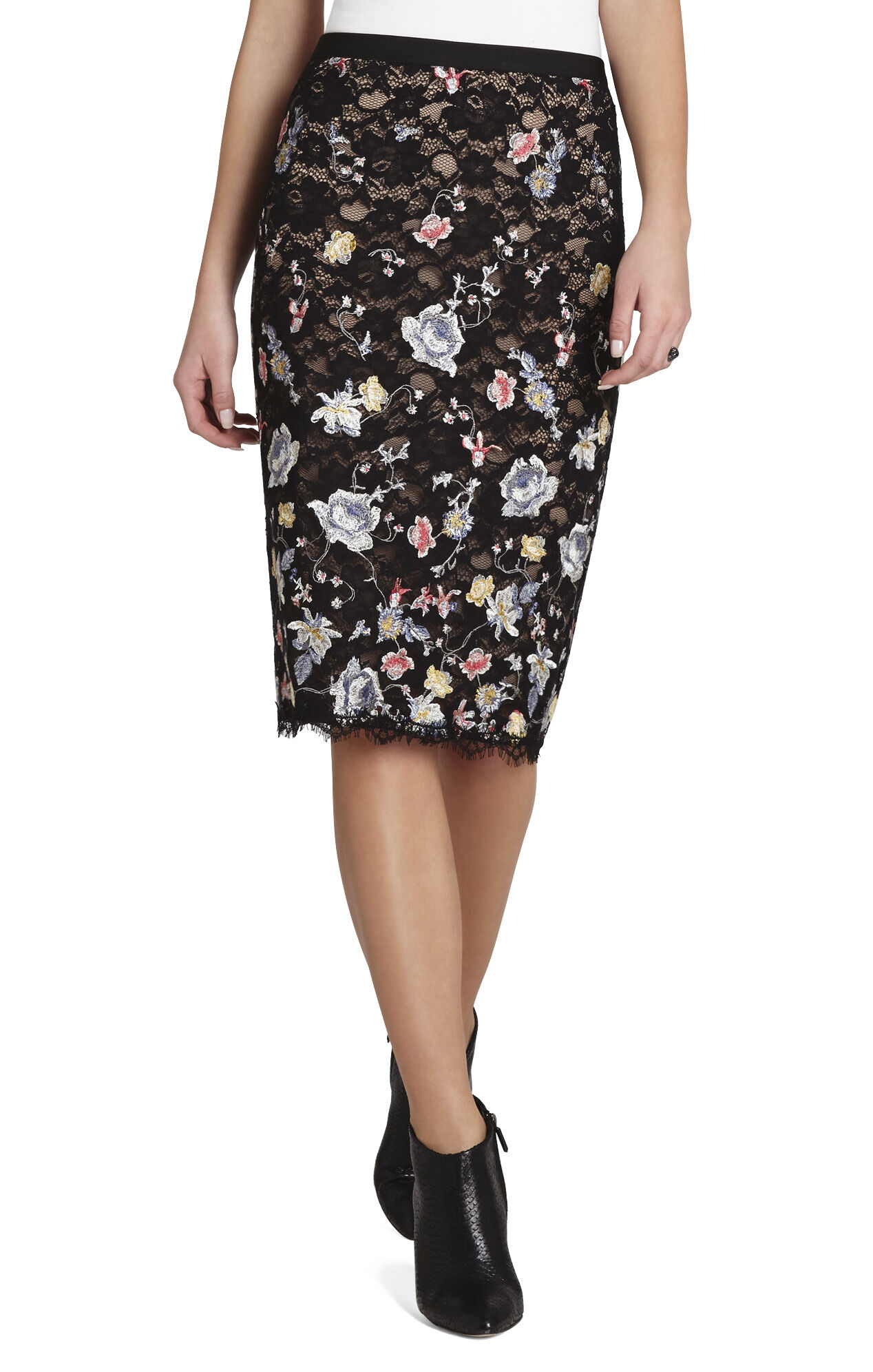 Irisa Embroidered Pencil Skirt