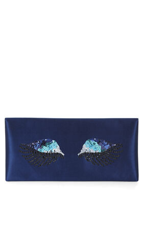 Harlow Eye-Embellished Envelope Clutch