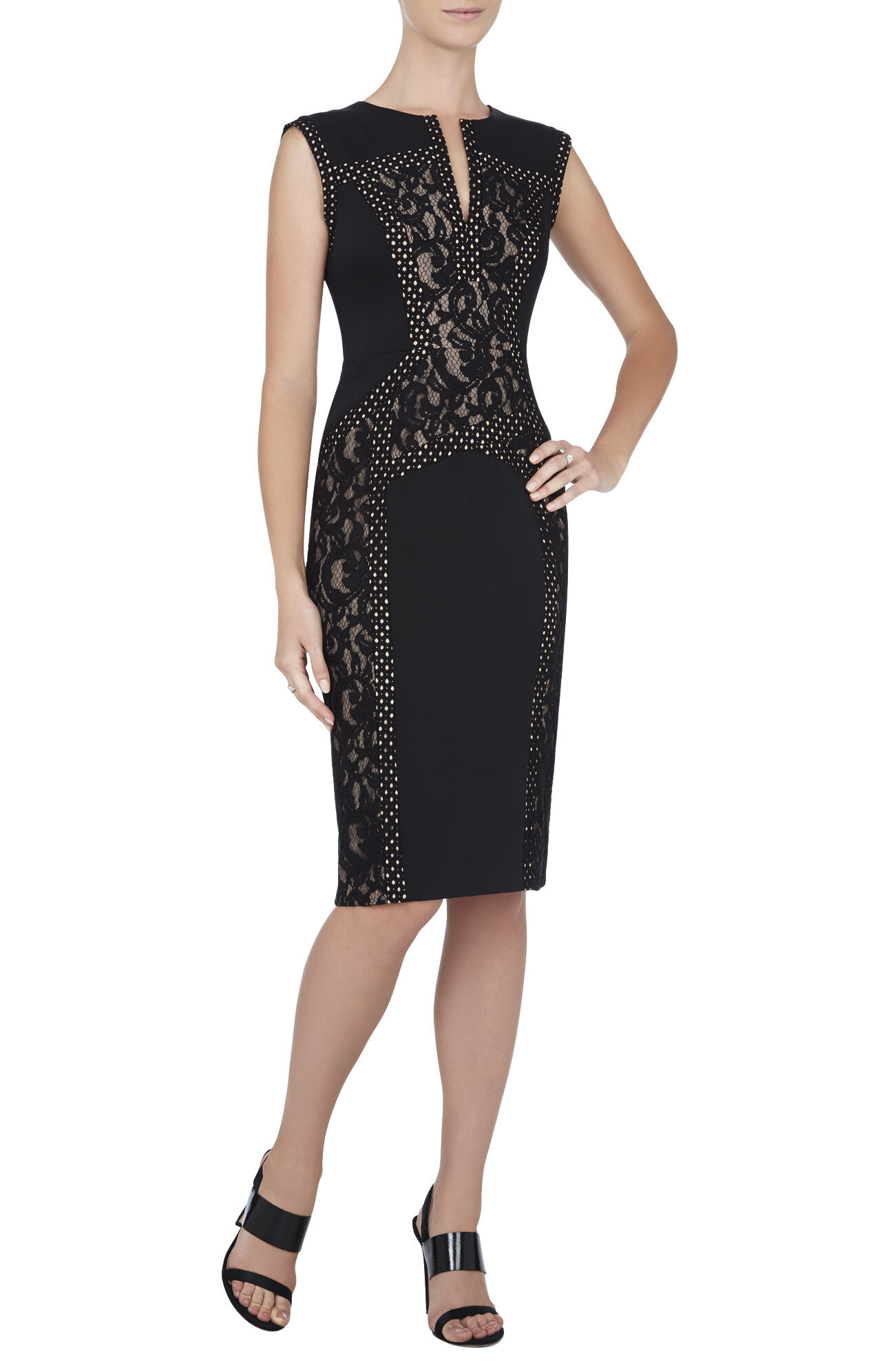 Alesia Sleeveless Lace-Blocked Dress