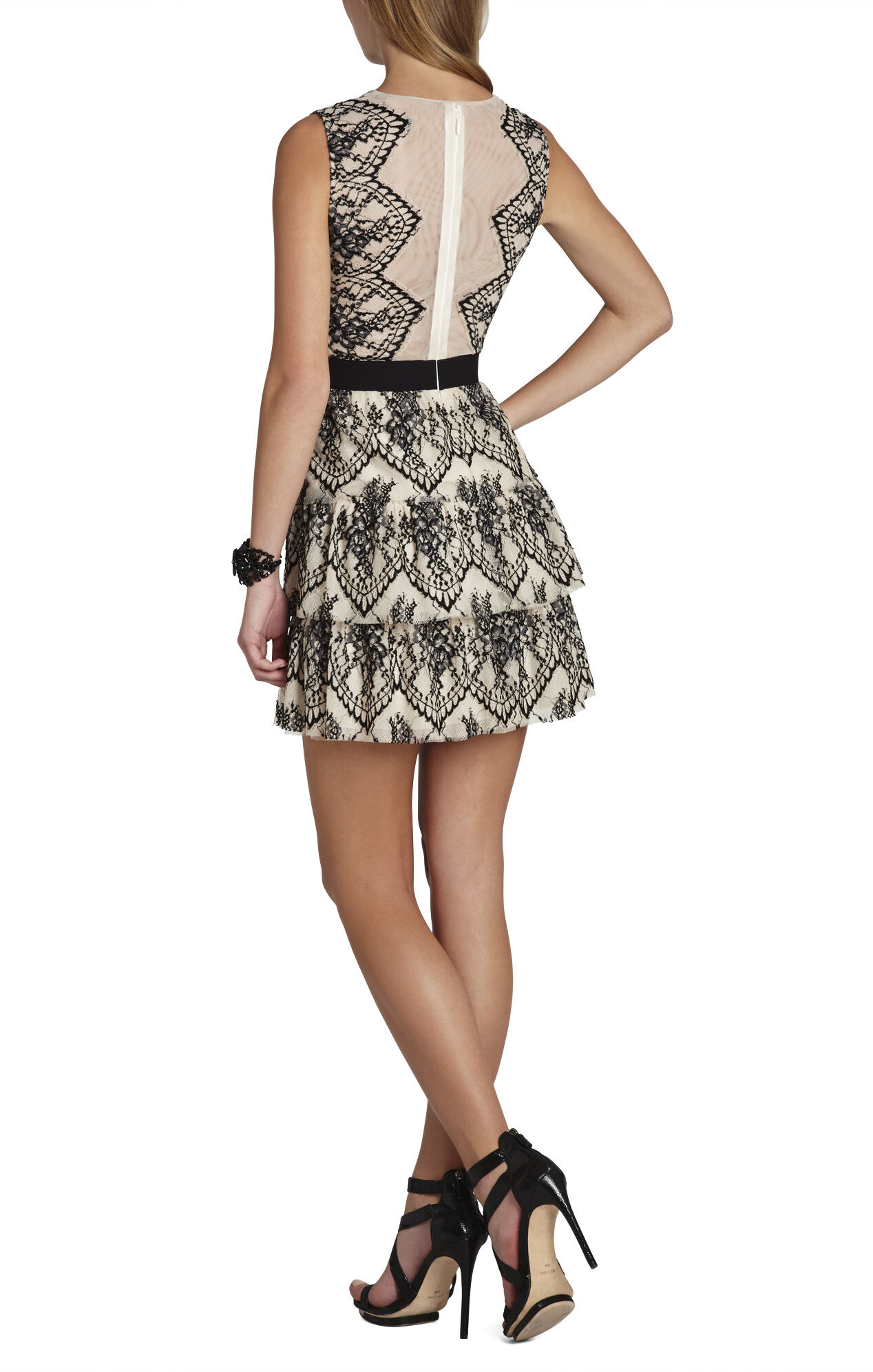 Collier Sleeveless Scalloped-Lace Dress
