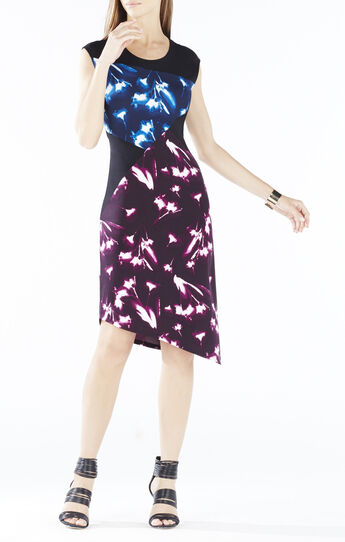 Daphney X-Ray Floral Print Asymmetrical Dress