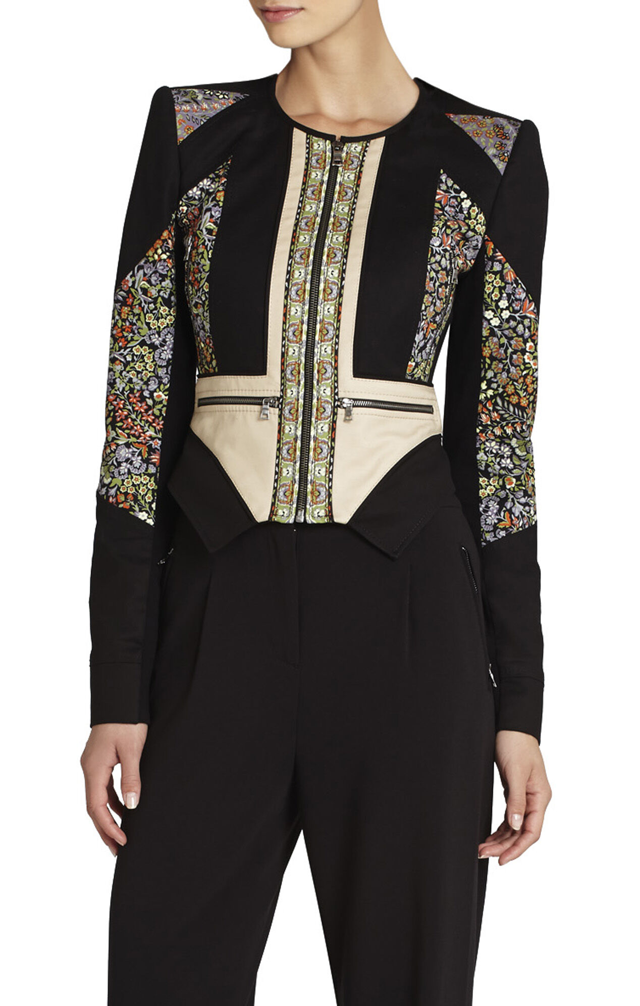 Neil Print-Blocked Moto Jacket