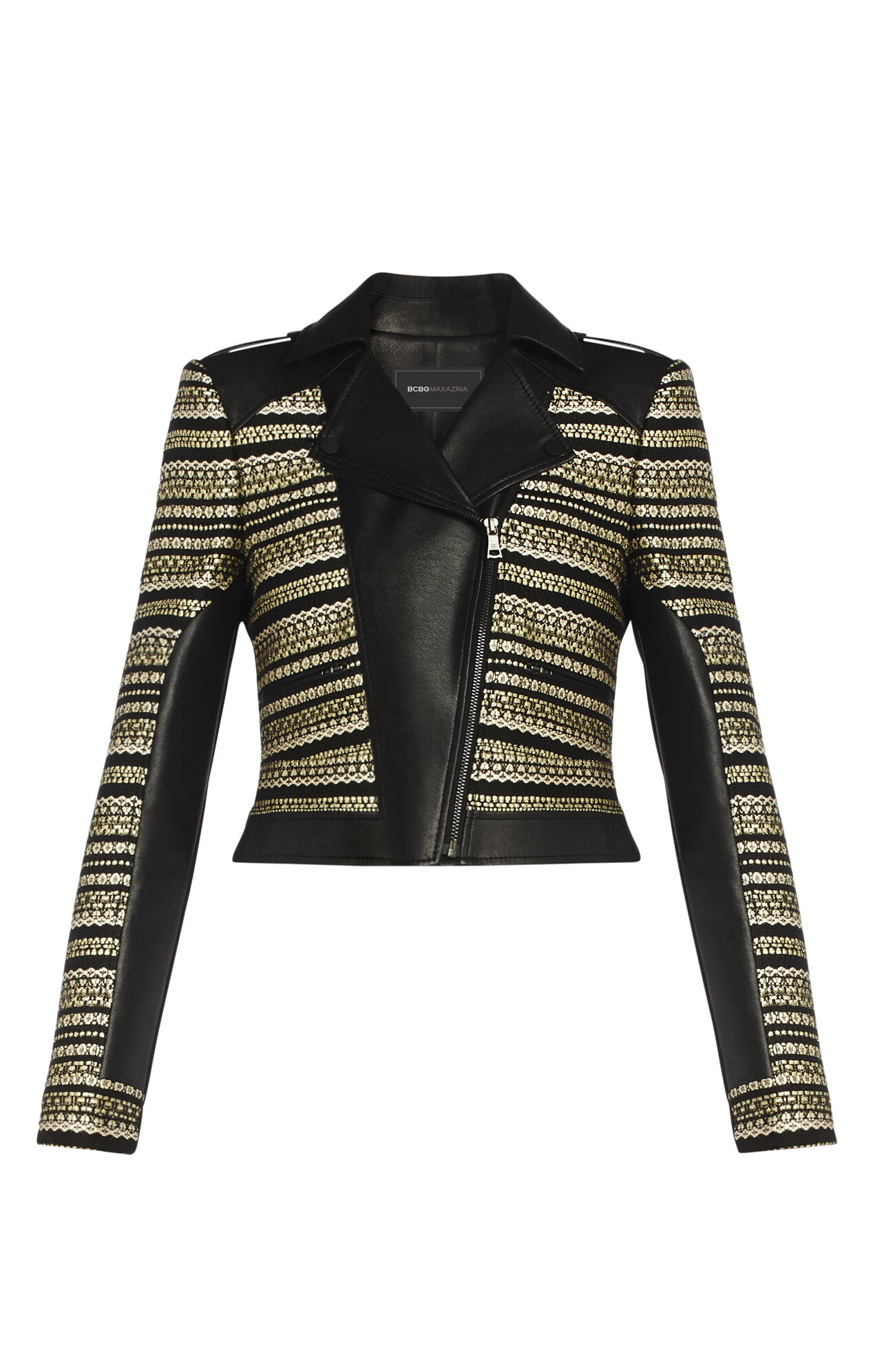 Leonardo Variegated Striped Moto Jacket