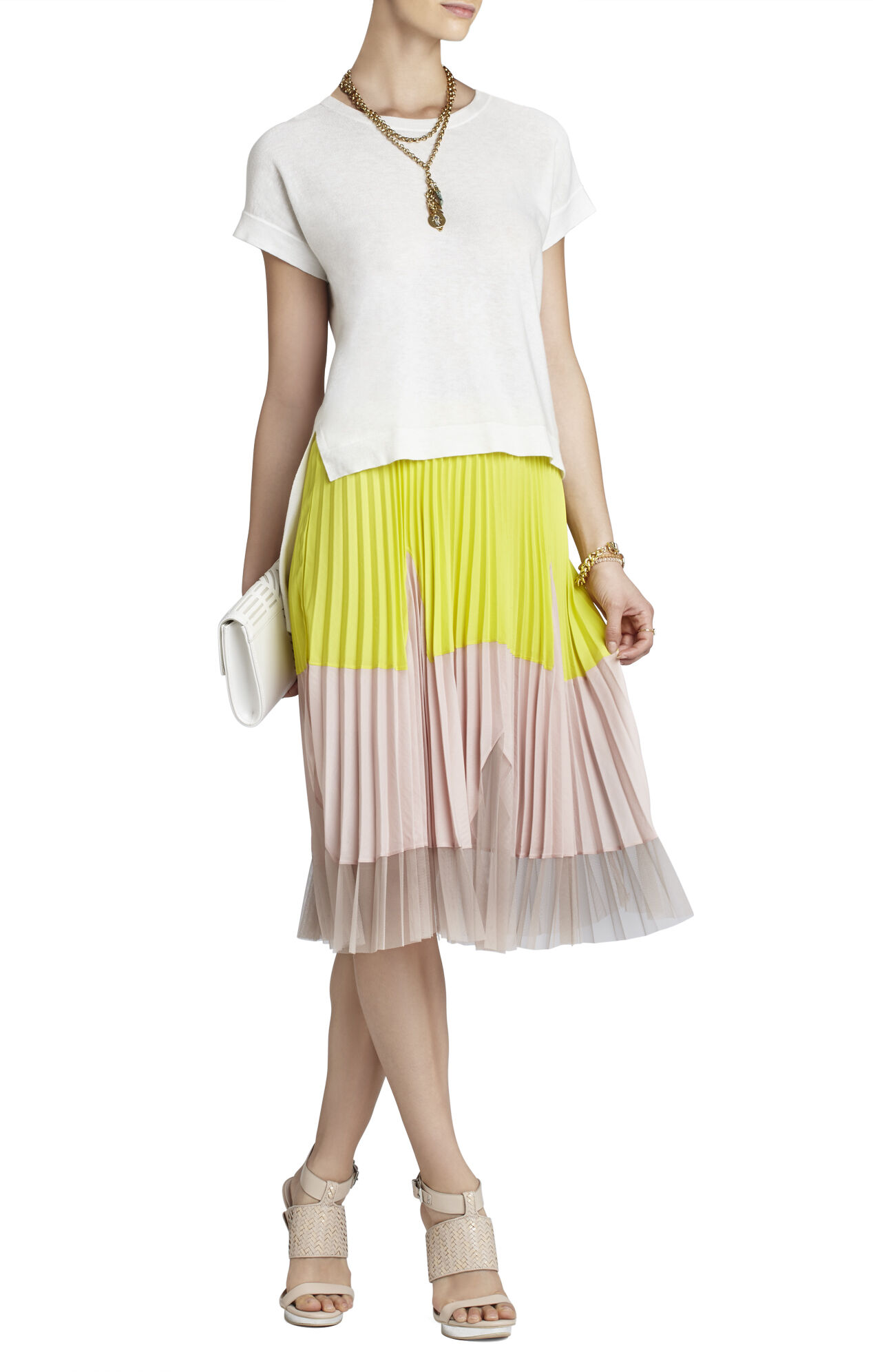 Corinne Color-Blocked Pleated Skirt