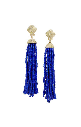 Seed-Beaded Fringe Earrings