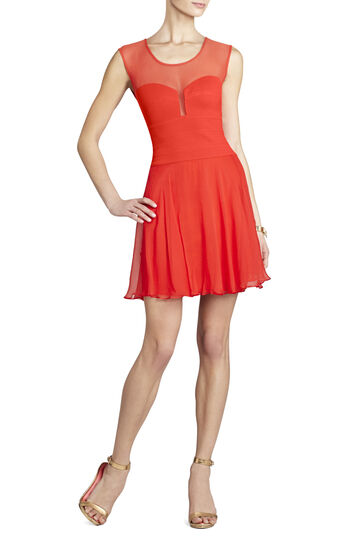 Miranda Sleeveless Ponte and Silk Dress