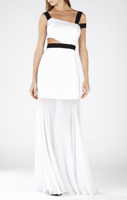 Roxana One-Shoulder Cutout-Waist Gown