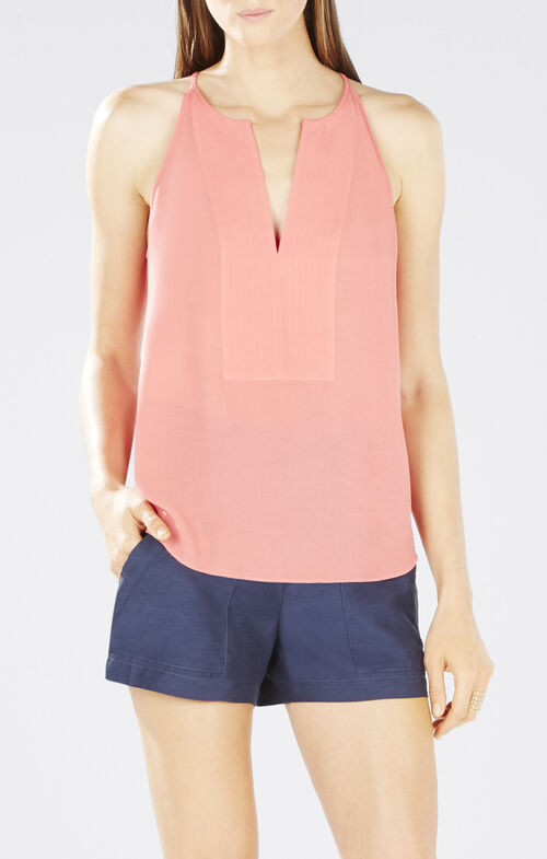 Mery Stitched Placket Halter Top
