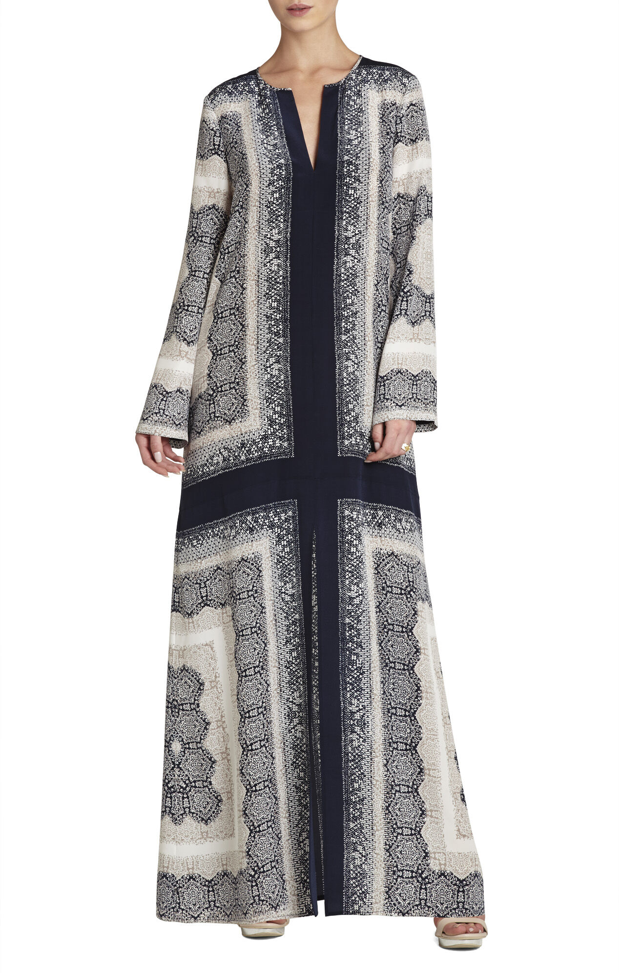 Olivia Scarf-Printed Caftan Dress
