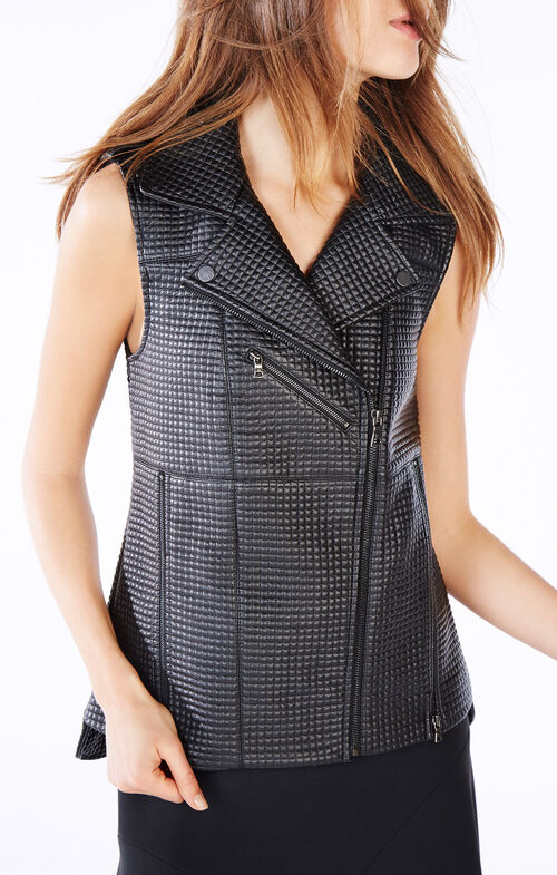 Xander Quilted Faux-Leather Vest