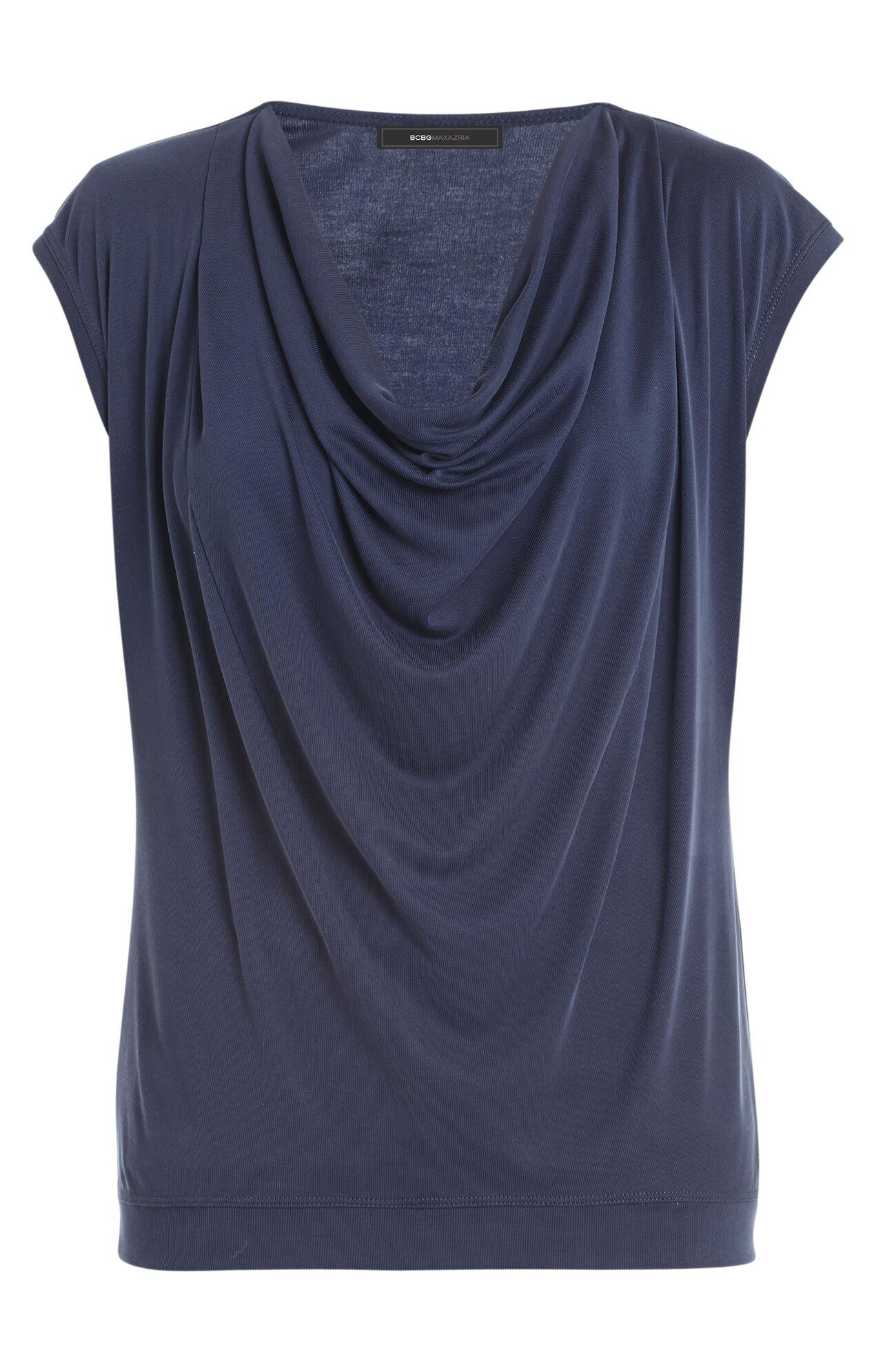 Kadie Cap-Sleeve Cowl-Neck Top