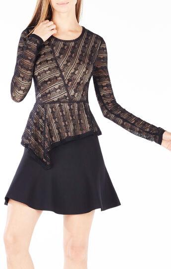 Juelia Striped Lace Asymmetrical Top