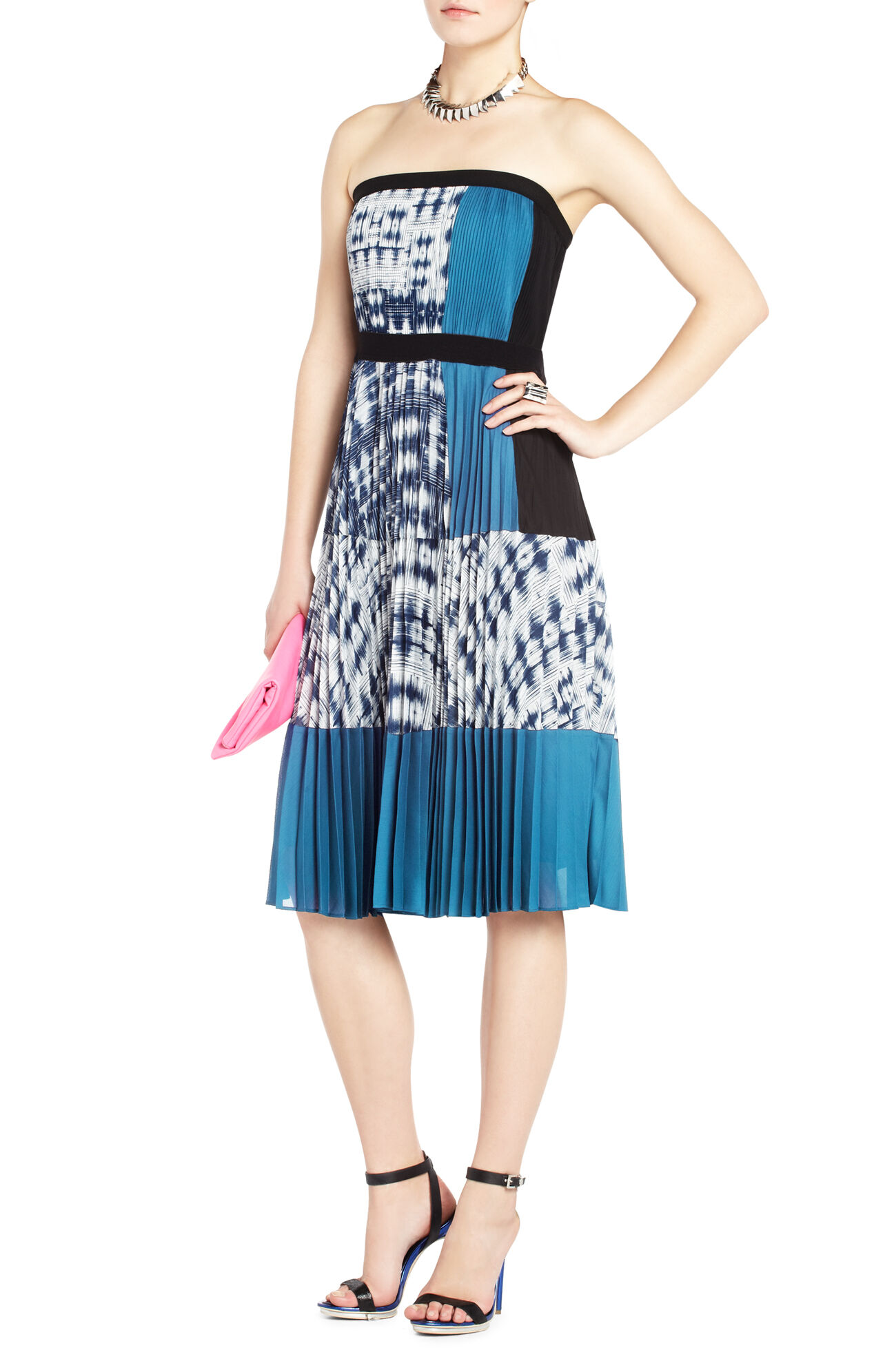 Georgette Strapless Pleated Cocktail Dress