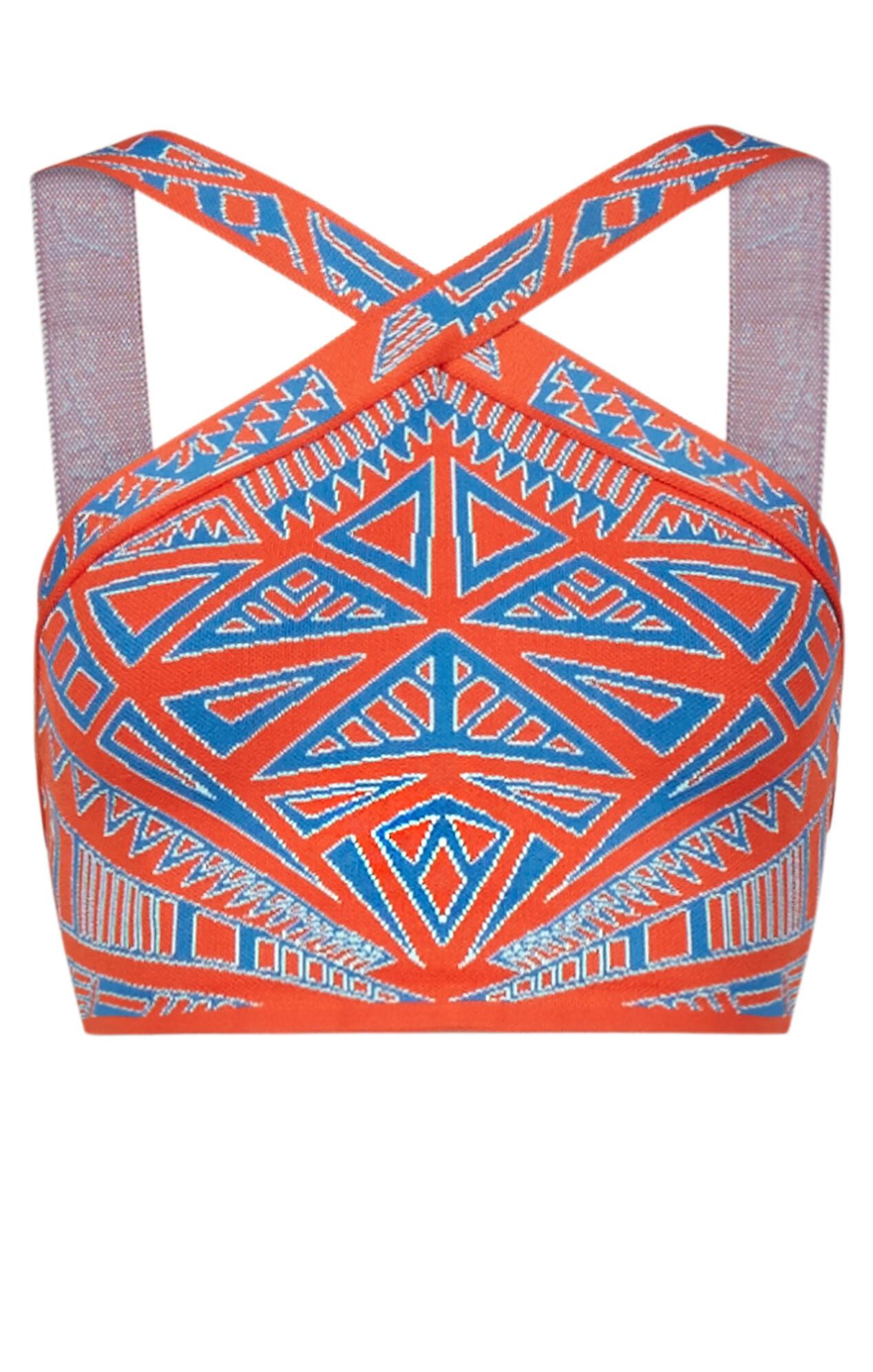 Katiya Medallion Knit Jacquard Crop Top