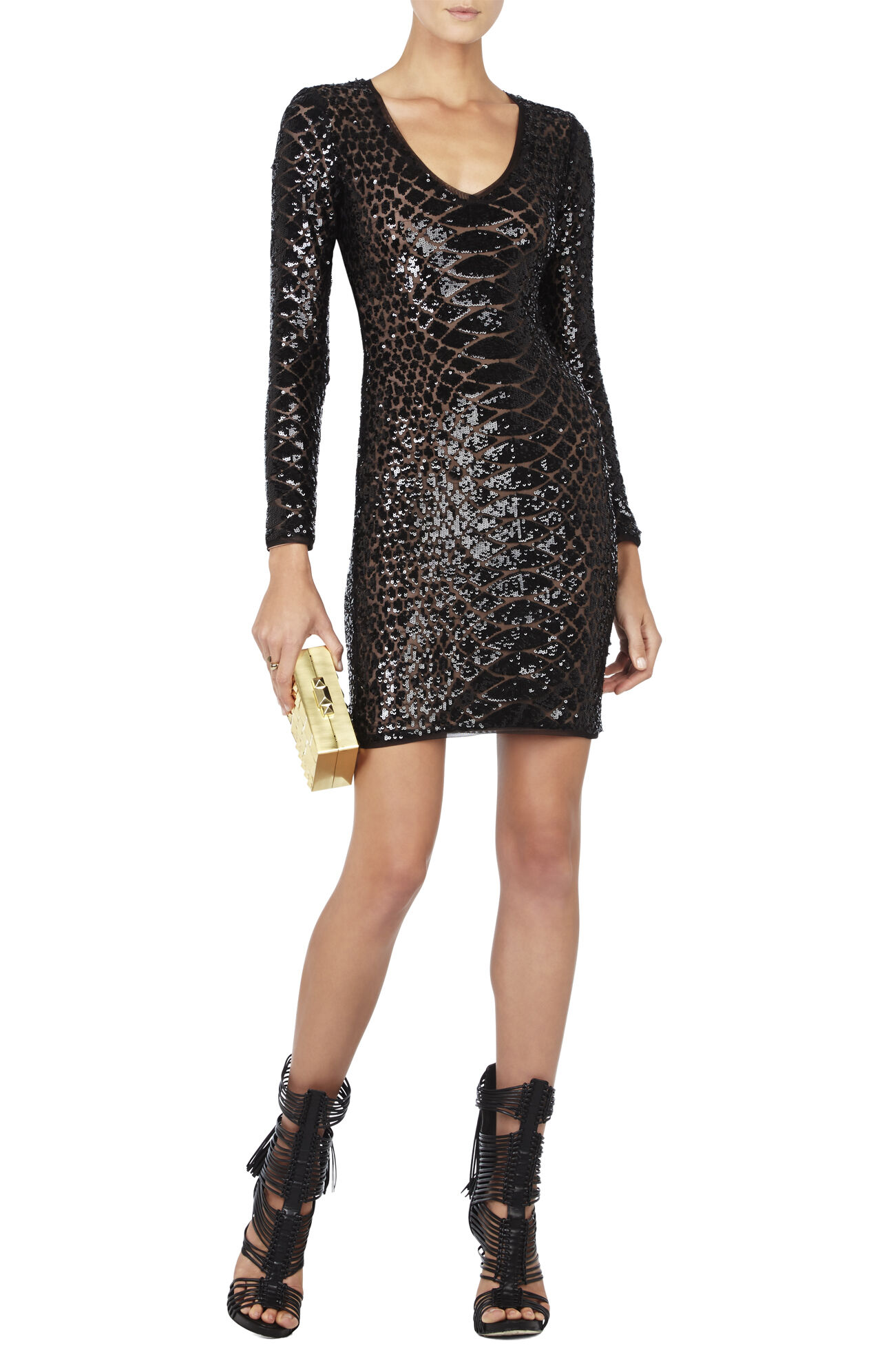 Sabryna Long-Sleeve Python Sequin Dress