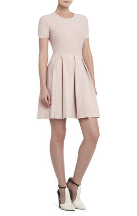 Elandra Pleated Ottoman-Stitch Dress