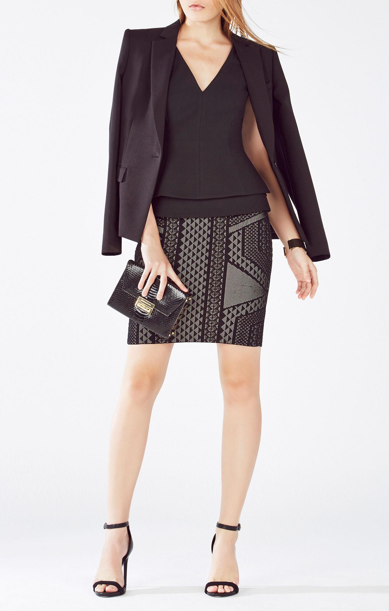 Josa Geometric Relief Jacquard Skirt