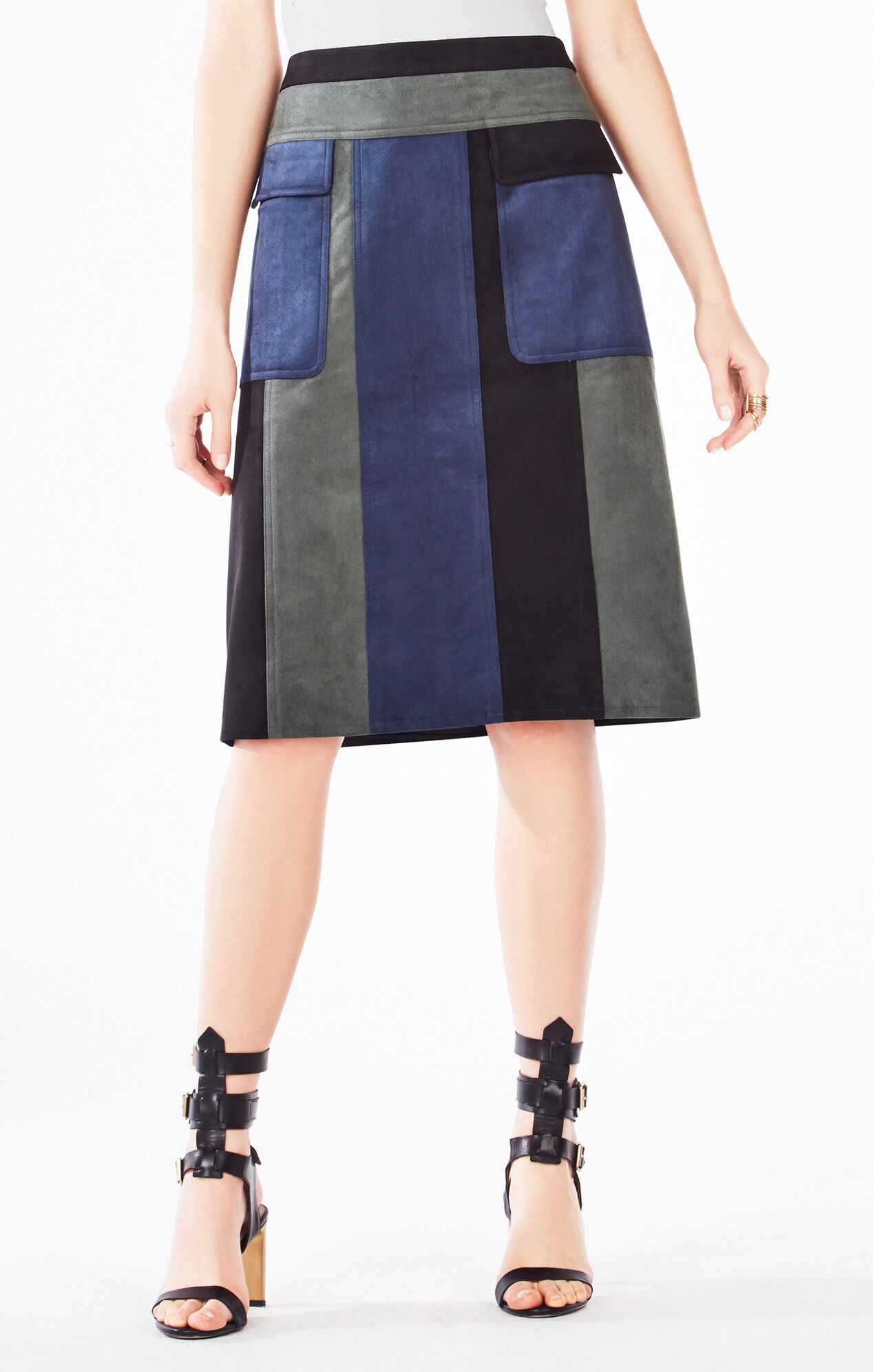 Nicki Color-Blocked Faux-Suede Skirt