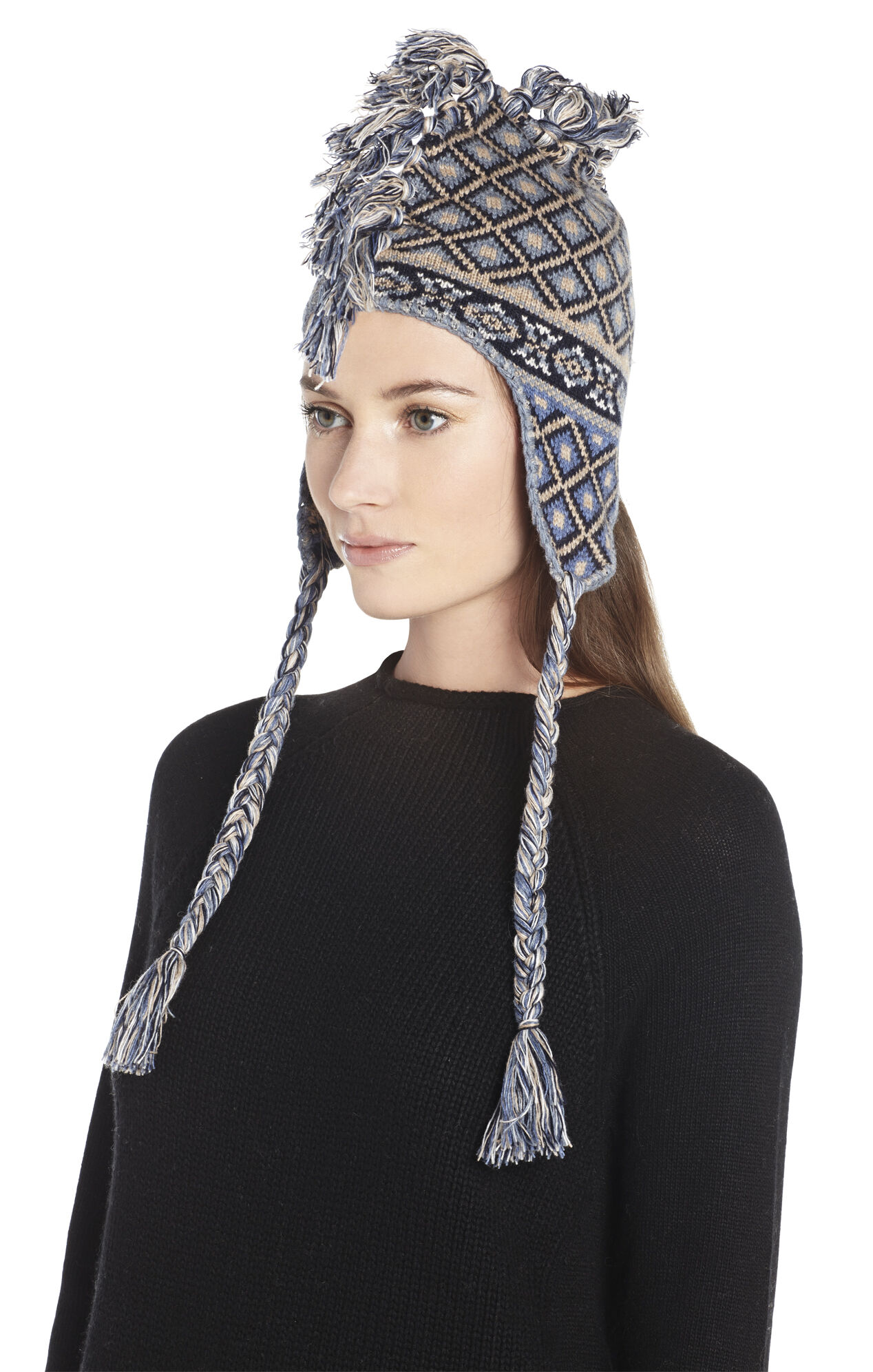 Braided-Tassel Mohawk Helmet Hat