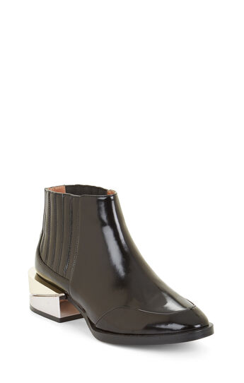 Alanna Plated-Heel Leather Bootie