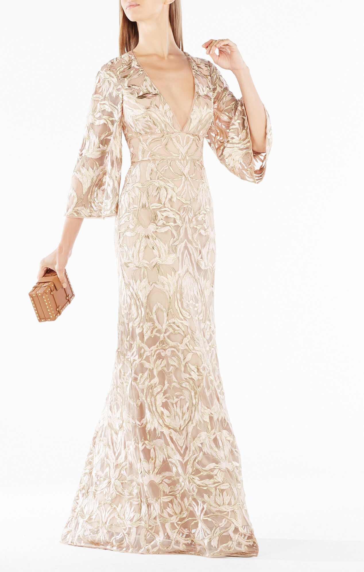 Raylan Deep-V Metallic Floral Embroidered Gown