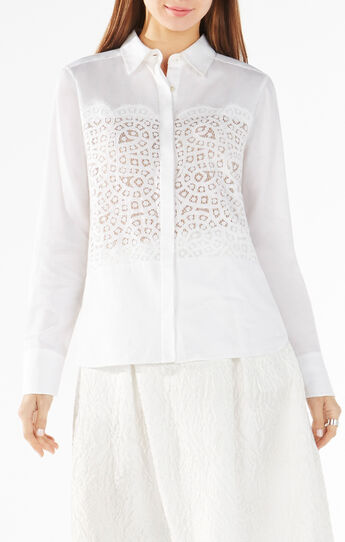 Audreanna Lace-Blocked Button-Up Shirt