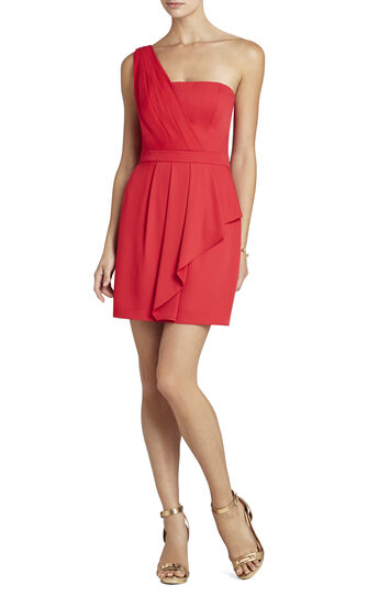 Vanessa One-Shoulder Cascade Ruffle Dress