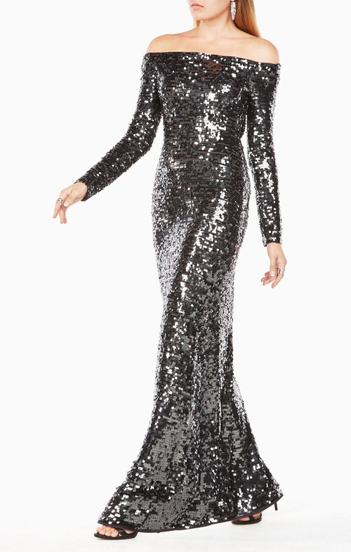 Gloriana Off-The-Shoulder Sequined Gown