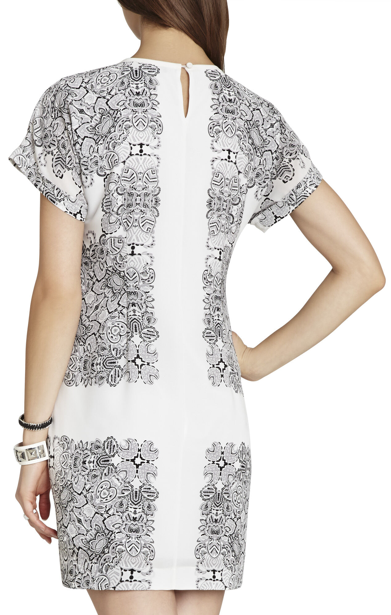 Madison Printed Short-Sleeve Draped Dress