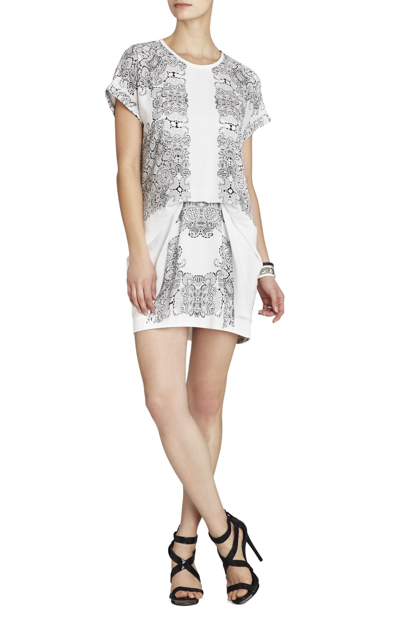 Madison Printed Short-Sleeve Draped Dress