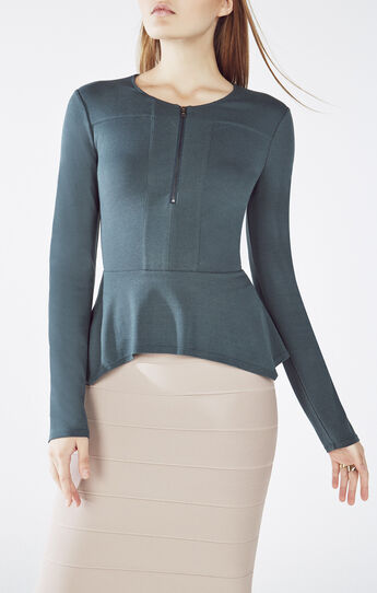 Jaynie Long-Sleeve Peplum Top
