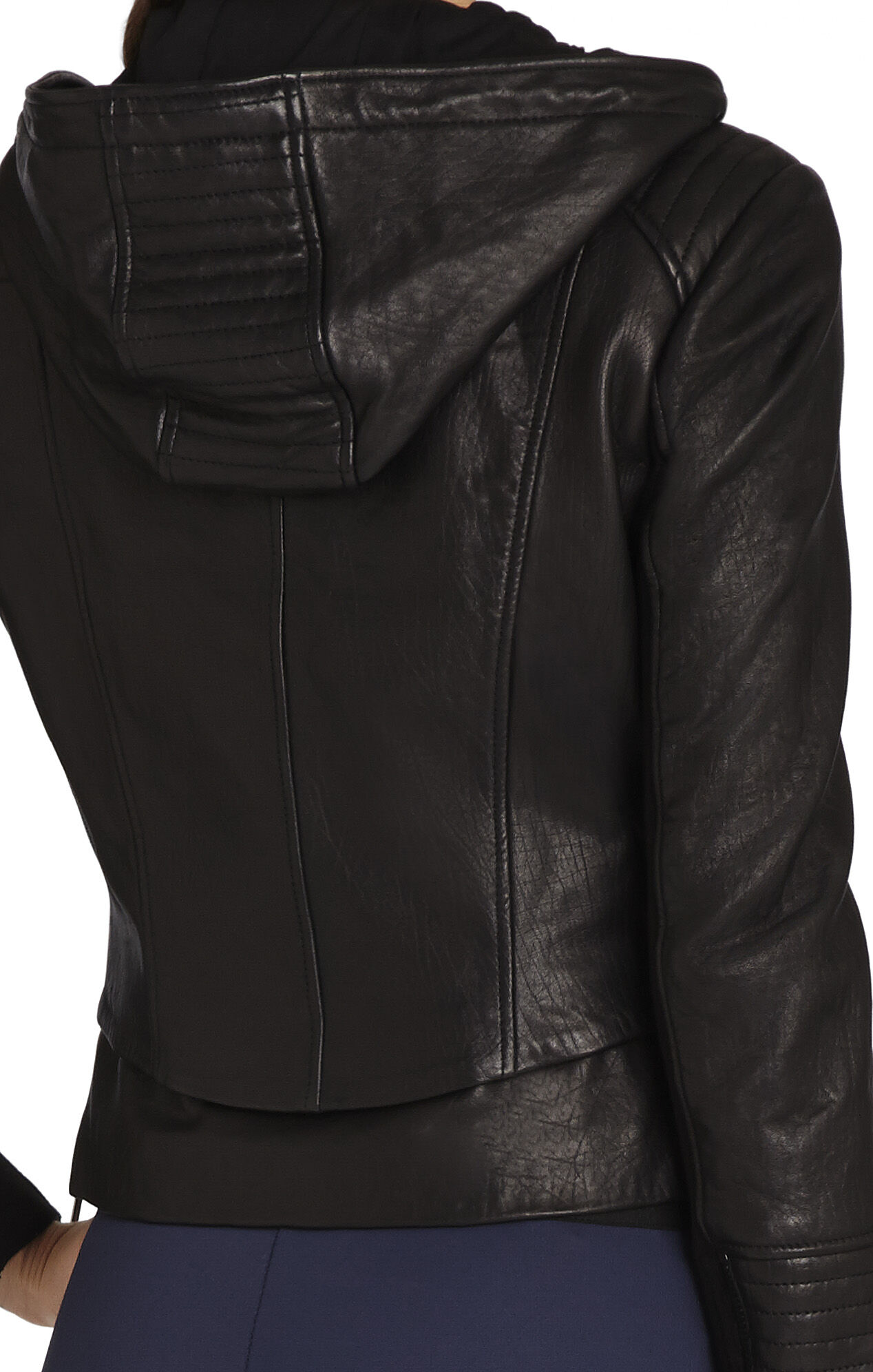 Molly Hooded Leather Jacket