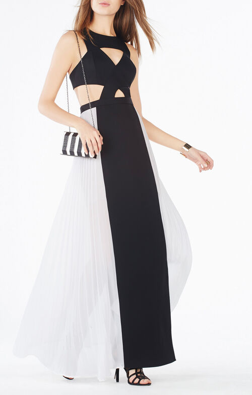 Giselle Cutout Pleated Gown