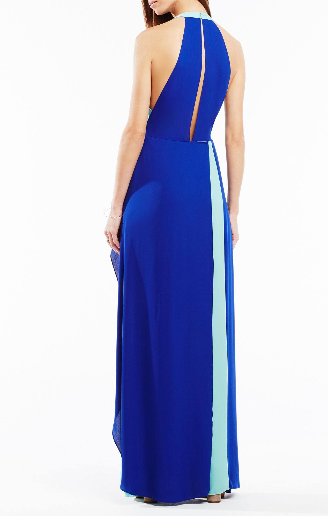Camillia Halter-Neck Color-Blocked Dress
