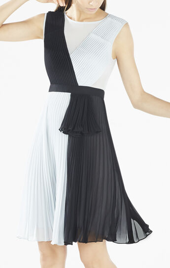Bailie Pleated Color-Blocked Dress