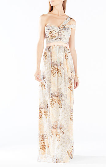 Igna One-Shoulder Paillette Feather Print Gown