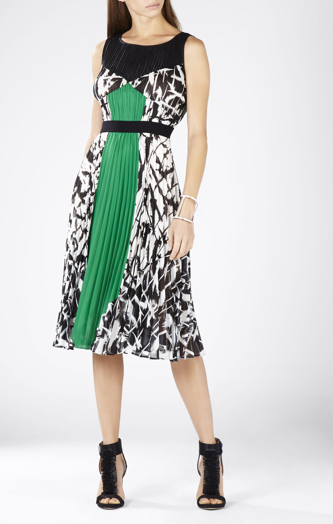 Camyla Print-Blocked Pleated Dress