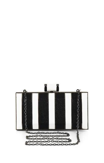 Estela Striped Snakeskin Faux-Leather Clutch