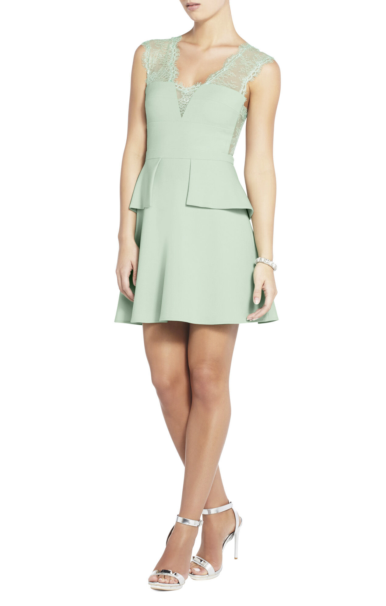 Leann Lace-Applique V-Neck Dress