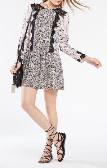 Bryanne Lace-Trim Floral Print Dress